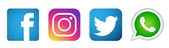 Reeks van populaire sociale media het elementenvector van Instagram Facebook Twitter WhatsApp van emblemenpictogrammen op witte a royalty-vrije illustratie