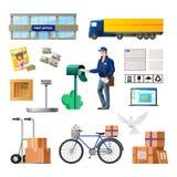Reeks van post, de bouw van post, vervoer voor levering vector illustratie