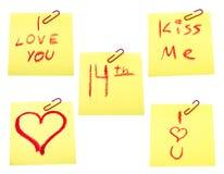 Reeks van post-it met valentijnskaartenthema Stock Foto's