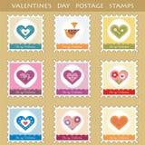 Reeks van 9 postzegels met harten Stock Foto