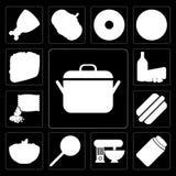 Reeks van Pot, Jam, Mixer, Jawbreaker, Deegwaren, Hotdog, Zaden, Zuivelfabriek royalty-vrije illustratie