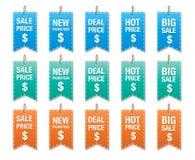 Reeks van prijskaartjevector op wit, etiketten voor korting wordt geïsoleerd die Stock Afbeeldingen