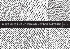 Reeks van 6 primitieve geometrische patronen Modieuze in druk Modern abstract behang Vector, eps8 Stock Afbeelding