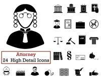 Reeks van 24 Procureur Icons Stock Foto's