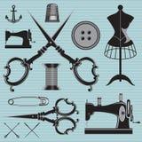 Reeks van punten en materiaal aan onderwerpenkleermaker, kleding, reparatie vector illustratie