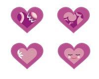 Reeks van 4 purpere harten Royalty-vrije Stock Afbeelding