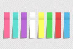 Reeks van realistische die kleurendocument stickers whith schaduw op wit wordt geïsoleerd royalty-vrije illustratie