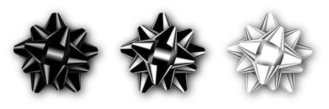 Reeks van realistische geïsoleerde zwarte, zilveren en witte boog met schaduw Malplaatje voor een viering stock illustratie