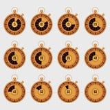 Reeks van realistische gouden chronometer Stock Foto
