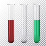 Reeks van realistische illustratie van reageerbuis drie met rood bloed of groene die vloeistof, op transparante achtergrond, vect royalty-vrije illustratie