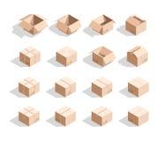 Reeks van 16 realistische isometrische kartondozen met textuur Stock Afbeeldingen