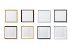 Reeks van Realistische Lichte Houten Lege Omlijstingen en Donkere Houten B Royalty-vrije Stock Afbeeldingen