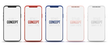 Reeks van realistische slimme telefoon 5 Concepten vector moderne telefoon Stock Foto's