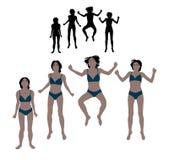 Reeks van realistische vlak gekleurde illustratie van een springende vrouw binnen Royalty-vrije Stock Fotografie