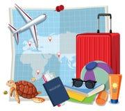 Reeks van reiselement royalty-vrije illustratie