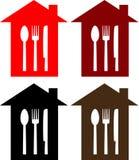 Reeks van restaurantteken met lepel, vork en mes Stock Fotografie