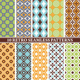 Reeks van 10 retro naadloze patronen Royalty-vrije Stock Afbeelding