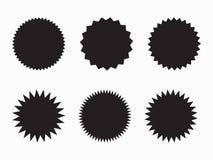 Reeks van retro spatie starburst, zonnestraalkentekens Vector illustratie vector illustratie