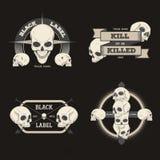 Reeks van retro uitstekend kenteken, symbool of logotype met schedel Stock Foto