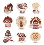 Reeks van retro vectorbakkerijemblemen en brood Stock Afbeeldingen