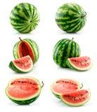 Reeks van Rijpe Groene Watermeloen die op Wit wordt geïsoleerdk Royalty-vrije Stock Afbeelding