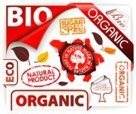 Reeks van rode bio, eco, organische elementen vector illustratie