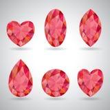 Reeks van rode geometrisch Royalty-vrije Stock Foto