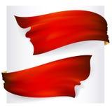 Reeks van 2 rode lintbanners Stock Fotografie