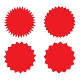 Reeks van rode retro spatie starburst, zonnestraalkentekens Vector illustratie royalty-vrije illustratie