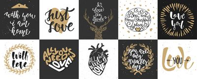 Reeks van romantische en liefde vectorhand getrokken unieke typografie Royalty-vrije Stock Foto's