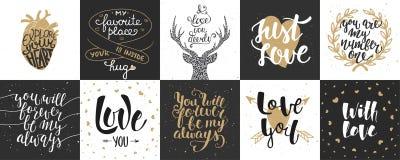 Reeks van romantische en liefde vectorhand getrokken unieke typografie Royalty-vrije Stock Fotografie