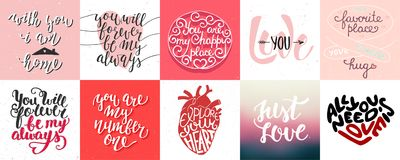 Reeks van romantische en liefde vectorhand getrokken unieke typografie Stock Fotografie
