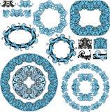 Reeks van ronde en ovale kaders en uitstekend ontwerp Gr Stock Afbeeldingen