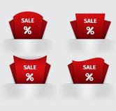 Reeks van rood de stickerprijskaartje van Verkooppercenten Royalty-vrije Stock Afbeelding