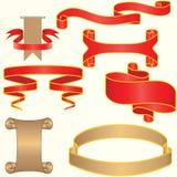 Reeks van rood en zilveren vectorlint Stock Foto