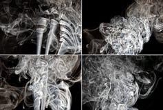 Reeks van rook op zwarte achtergrond Royalty-vrije Stock Foto
