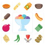 Reeks van Roomijs, Aardappels, Slager, Erwten, Toost, Asperge, Pom vector illustratie