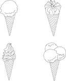 Reeks van roomijs in wafels vector illustratie