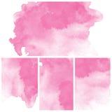 Reeks van roze Abstracte de kunstverf van de waterkleur Royalty-vrije Stock Afbeelding