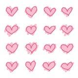 Reeks van roze hand getrokken hartenschets royalty-vrije illustratie