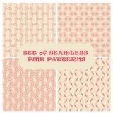 Reeks van roze naadloze achtergrond met elegante lijnen Royalty-vrije Stock Afbeelding