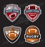 Reeks van Rugby en Voetbal Logo Template Royalty-vrije Stock Afbeelding