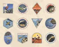Reeks van Ruimteembleem Menselijke opdracht aan Mars Exploratie van de astronomische melkweg Astronaut of ruimtevaardersavontuur royalty-vrije illustratie