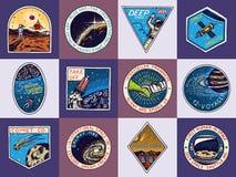 Reeks van Ruimteembleem Menselijke opdracht aan Mars Exploratie van de astronomische melkweg Astronaut of ruimtevaardersavontuur stock illustratie