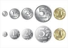Reeks van Russische muntstukkenroebel Stock Foto