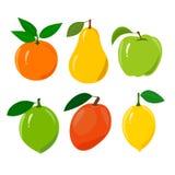 Reeks van sappig rijp die fruit op een wit wordt geïsoleerd Stock Afbeelding