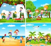 Reeks van scène van kinderen het spelen stock illustratie