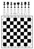 Reeks van schaak en schaakbord. Stock Afbeeldingen