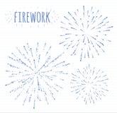 Reeks van schets feestelijk vuurwerk die in diverse fonkelende vormen abstracte illustratie barsten Stock Afbeeldingen