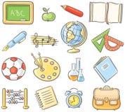 Reeks van 16 schoolding die verschillende onderwerpen vertegenwoordigen Royalty-vrije Stock Afbeelding